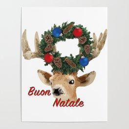 Buon Natale - italiano Merry Christmas Deer Poster