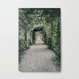 Arbor Covered Gravel Path to the Fountain and Pergola at Bradley Creek, Airlie Gardens Metal Print