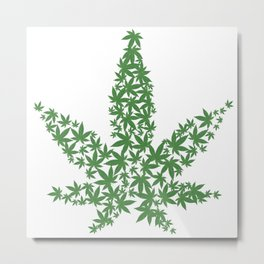 Marijuana Pot Leaf made of many cannabis weed leaves Metal Print