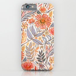 Coral Pink, Red and Lilac Art Nouveau Floral iPhone Case