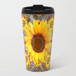 WESTERN SUNFLOWER BUTTERFLIES COFFEE BROWN Travel Mug
