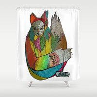 chihiro Shower Curtains featuring Colorful crazy cat by Chihiro Streetcat