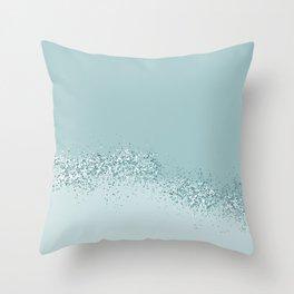 dusty blue grey glitter Throw Pillow