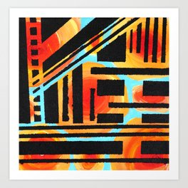 Orangle Circle Black Slant Art Print