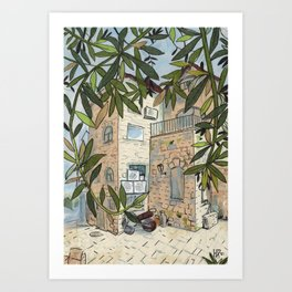 Courtyard in Haifa, Cityscape Travel Israel Paper Collage Ink Sketch Art Print