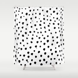Dalmatian dots black Shower Curtain