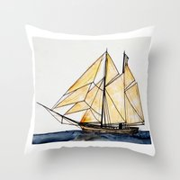 sail Throw Pillows featuring sail by The Traveling Catburys