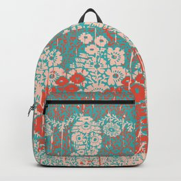 floral paisley in vermillion and teal Backpack