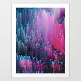 Bold Pink and Blue Glitches Art Print