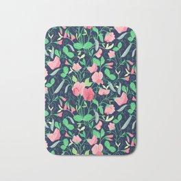 Pretty floral pattern. Sweet Pea. Bath Mat