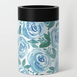 Pale blue roses . Watercolor . Can Cooler