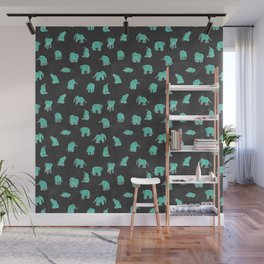Indian Baby Elephants Black/Mint Wall Mural