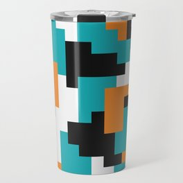 Color blocking shapes orange, teal Travel Mug