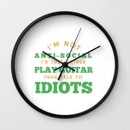 Rather Play Guitar Electric Guitar Player Electronical Bass Wall Clock
