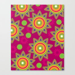 Moroccan Flower Wine Canvas Print