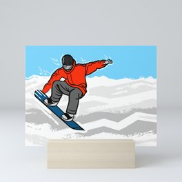 Snowboarding Illustration Mini Art Print