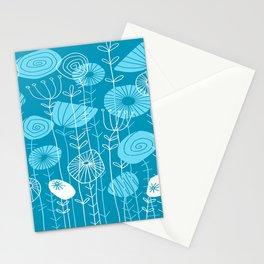 Retro Aqua Floral Stationery Cards