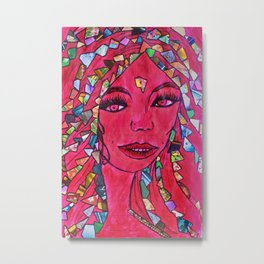 The Gypsy Dancer Collage Shining in the Red Firelight Metal Print