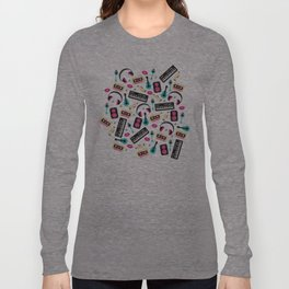 Jazz music instruments and sounds pattern Long Sleeve T-shirt