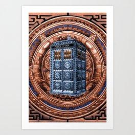 Aztec Tardis Doctor Who Full Color Pencils Sketch Art Print