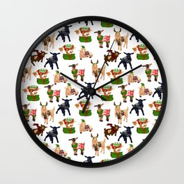 Christmas goats in sweaters repeating seamless pattern Wall Clock