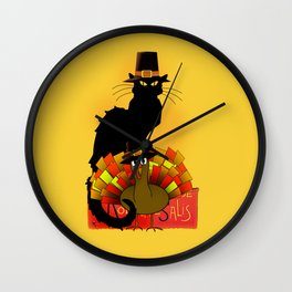 Thanksgiving Le Chat Noir With Turkey Pilgrim Wall Clock
