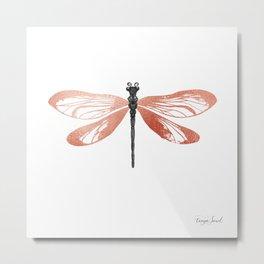 Rose Gold Dragonfly Metal Print