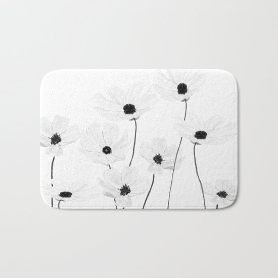 black and white cosmos Bath Mat