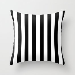 Parisian Black & White Stripes (vertical) Throw Pillow