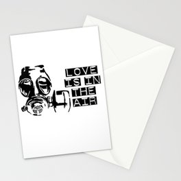 Love is in the air gas mask Stationery Cards