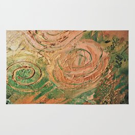 copper roses abstract Rug