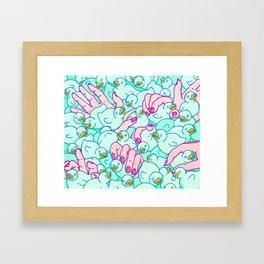 Rubber ducks pool Framed Art Print
