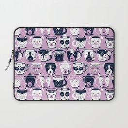 Cuddly Tea Time // white navy & light orchid pink animal mugs Laptop Sleeve