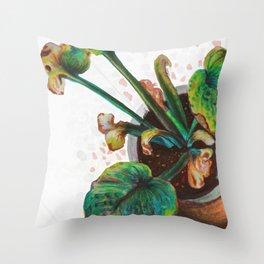 plant pot - elephant ear Throw Pillow