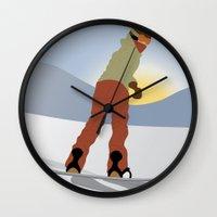snowboard Wall Clocks featuring Snowboard Illustration by Nikki Gagliardo