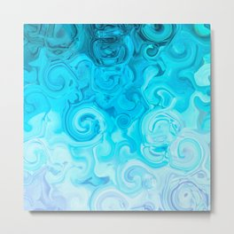 white turquoise blue whirl abstract digital painting Metal Print