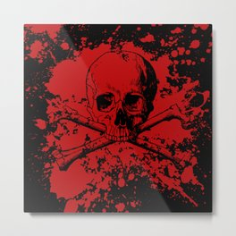 Skull and Crossbones Splatter Pattern Metal Print