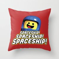 spaceship Throw Pillows featuring Spaceship! by D-fens