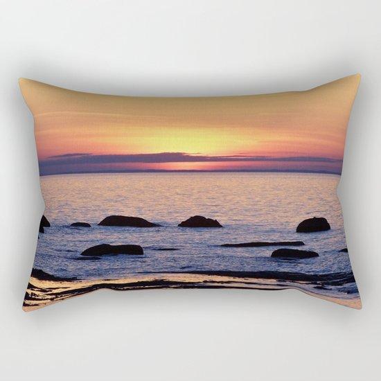 Summer's Glow and the Circle of Rocks Rectangular Pillow