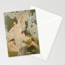 Swans and the Maidens angelic garden landscape painting by Walter Crane  Stationery Cards