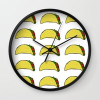 taco Wall Clocks featuring Taco Party by Leah Flores