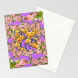 PINK & YELLOW SPRING ROSE GARDEN LILAC PURPLE VIGNETTE Stationery Cards