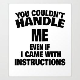 woman instruction man single sarcasm joke gift Art Print