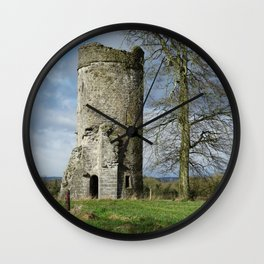 Irish Castle tower ruin Wall Clock