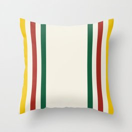 Rustic Lodge Stripes Black Yellow Red Green Throw Pillow