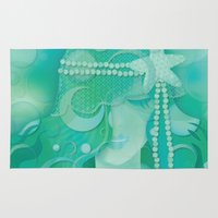 mermaid Area & Throw Rugs featuring Ocean Queen by Graphic Tabby