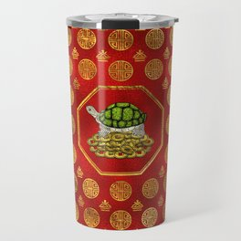 Golden Tortoise / Turtle Feng Shui on red Travel Mug