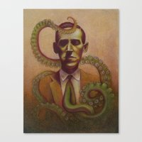 lovecraft Canvas Prints featuring H.P. Lovecraft by Henri Scribner