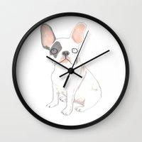 french bulldog Wall Clocks featuring French Bulldog by jo clark