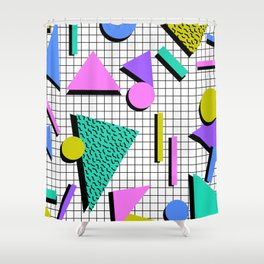 80s Retro Geometric Pattern 2 Shower Curtain